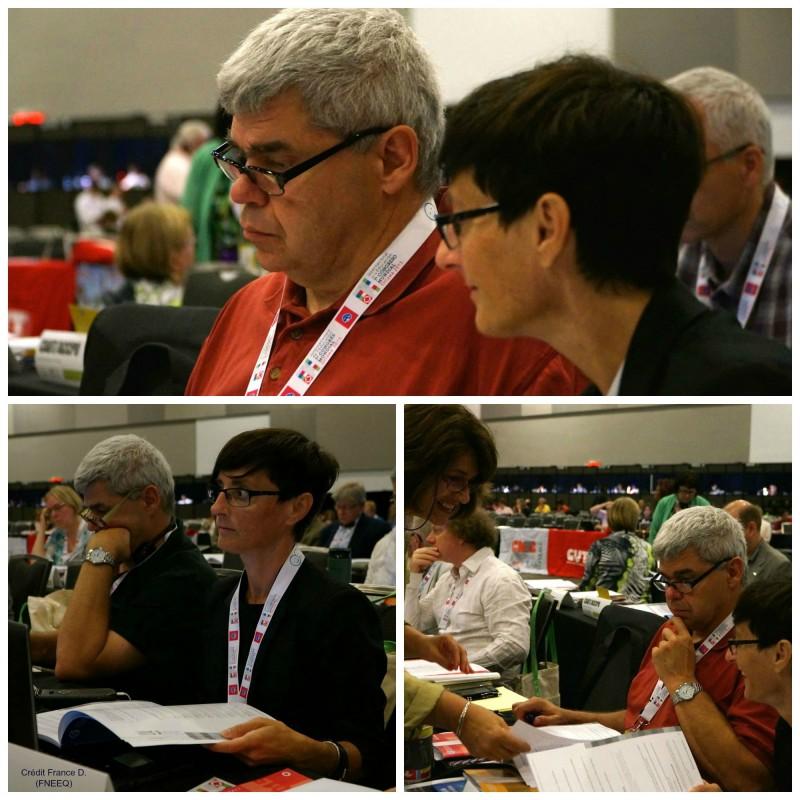 Bernard Gaucher et Claude Fortin, respectivement président et vice-présidente de la FPPU, en séance plénière au 7e congrès de l'Internationale de l'éducation (IE) à Ottawa