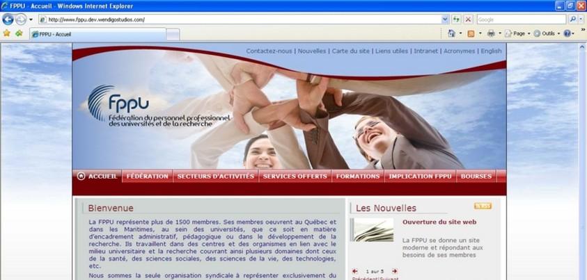 Accueil du premier site internet de la FPPU