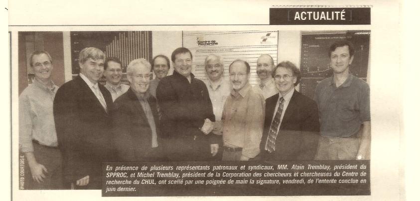 Coupure de journal sur la première convention collective des professionnels de recherche du CHUQ